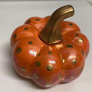 Hand painted Gilded Gold Orange Pumpkin